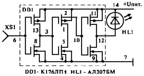 Схема искателя проводки двухэлементного