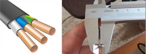 Измерение сечения провода штангенциркулем