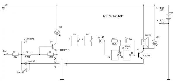 Определитель скрытой проводки со звуковой сигнализацией