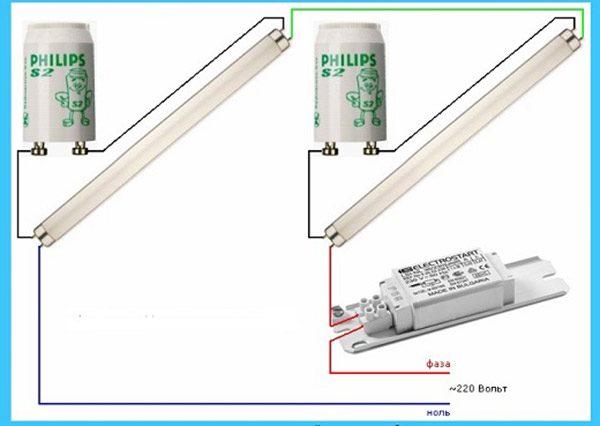 Как подключаются люминесцентные лампы