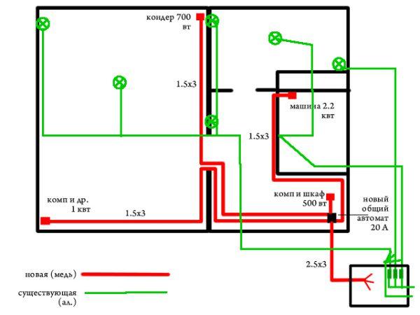 Пример схемы для замены электропроводки