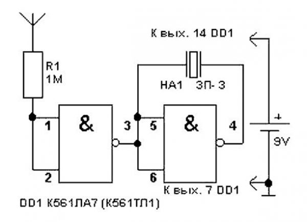 Схема детектора со звуковой индикацией