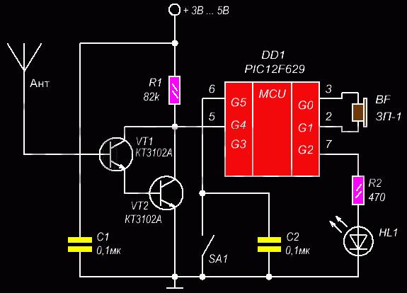 Схема искателя скрытой проводки на микроконтроллере