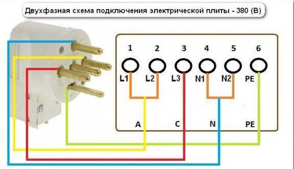 Схема подключение розетки к двум фазам