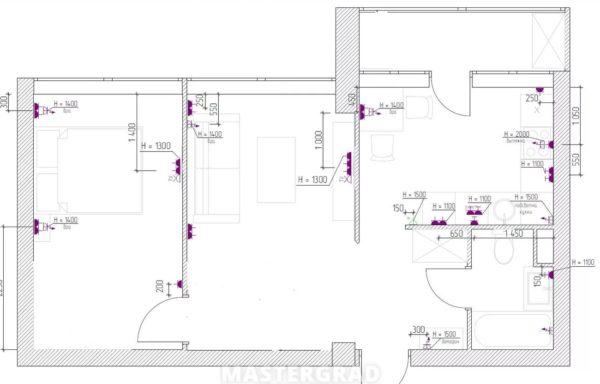 Схема размещения розеток в спальной комнате