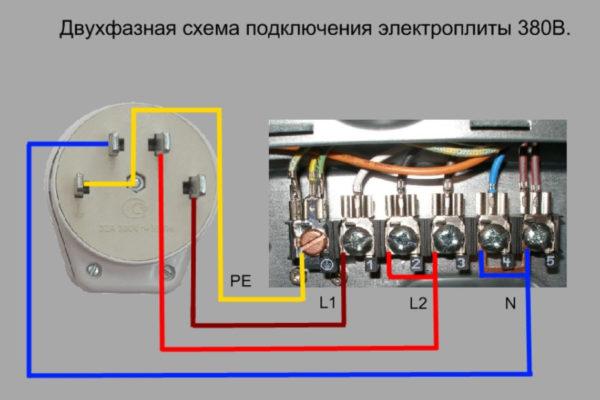 Двухфазная схема подключения варочной поверхности к сети 380В