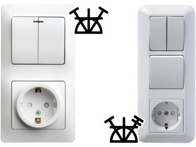 Как на схеме обозначаются выключатели и розетки по госту