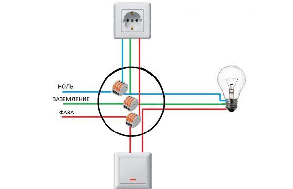 Схема подключения розетки к электросети