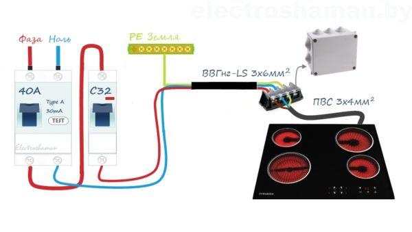 Схема подключения варочной поверхности к сети 220В