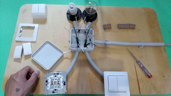Монтаж проходных двухклавишных выключателей