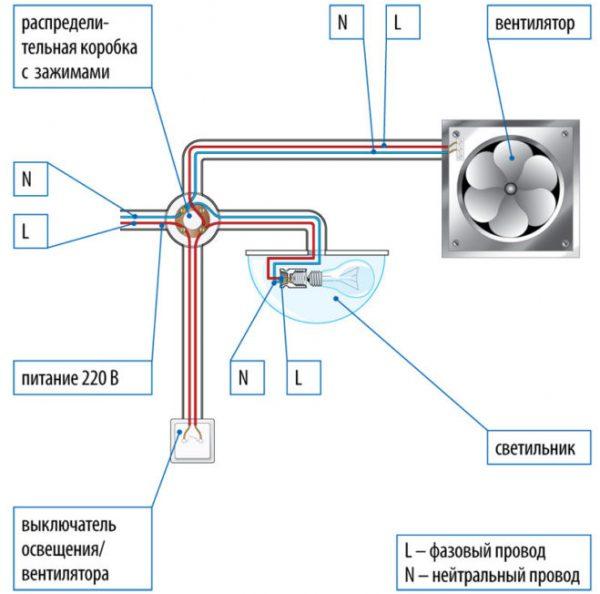 Подключение вентилятора параллельно с освещением
