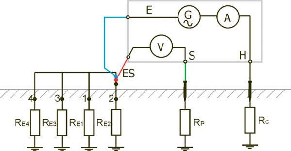 Схема измерения сопротивления по четырехполюсной системе