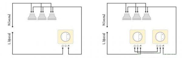 Схема освещения комнаты с двумя диммерами