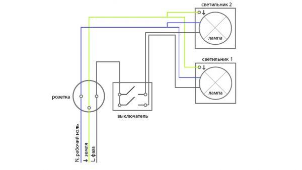 Схема подключения выключателя от розетки