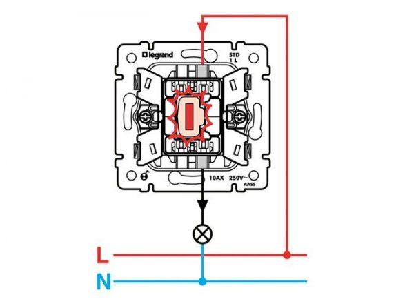 Схема подключения одноклавишного выключателя с подсветкой