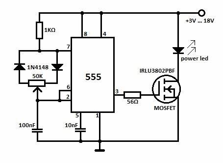 Схема регулировки интенсивности свечения светодиодных ламп