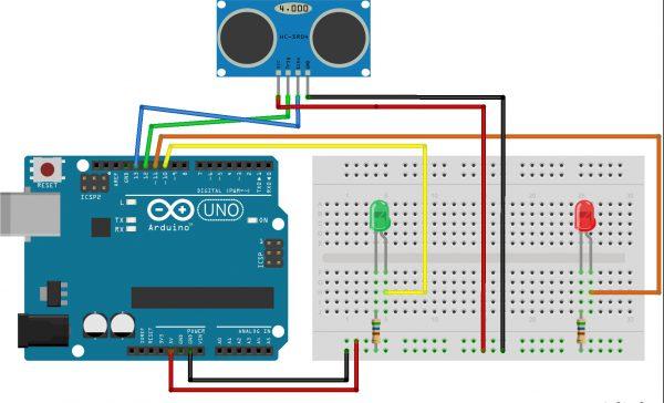 Схема выключателя с ультразвуковым датчиком