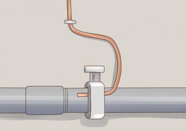 Подсоединение заземления к трубе отопления