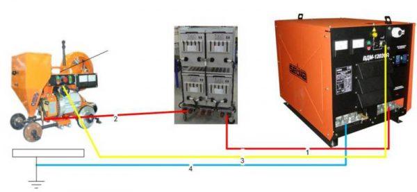 Схема подсоединения заземления к сварочному оборудованию
