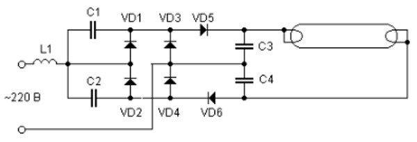 Подключение лампы без применения электромагнитного баланса