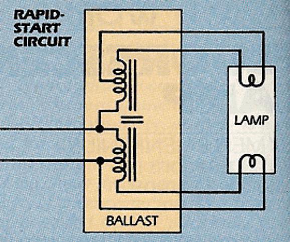 Схема быстрого старта люминесцентных ламп