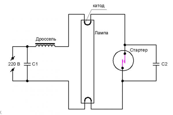 Схема подключения газоразрядной лампы