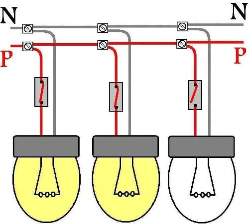 Схема подключения ламп с выключателями