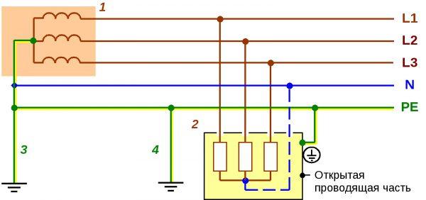 Схема электропроводки с защитным заземляющим проводником