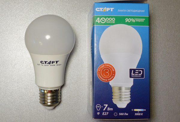 Светодиодная лампа со световым потоком 560 Лм