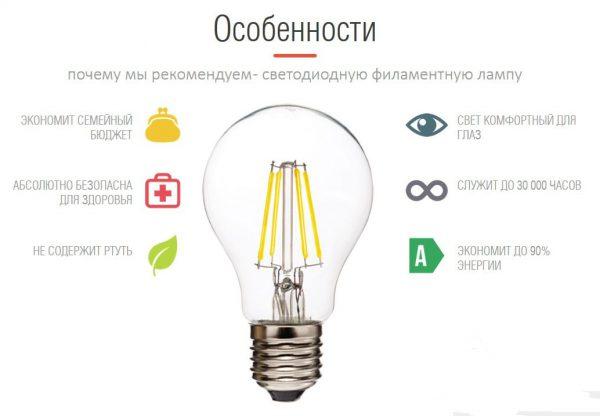 Особенности светодиодных ламп филаментного типа