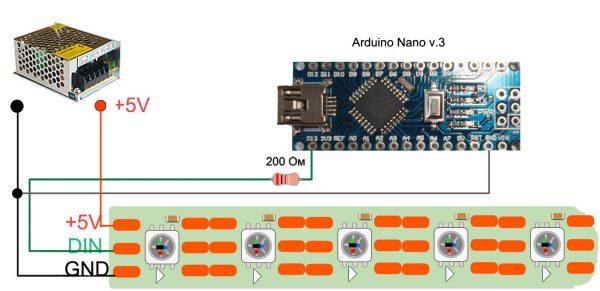 Подключение ленты через Arduino Nano