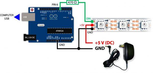 Управление светодиодной лентой с помощью процессора ATmega