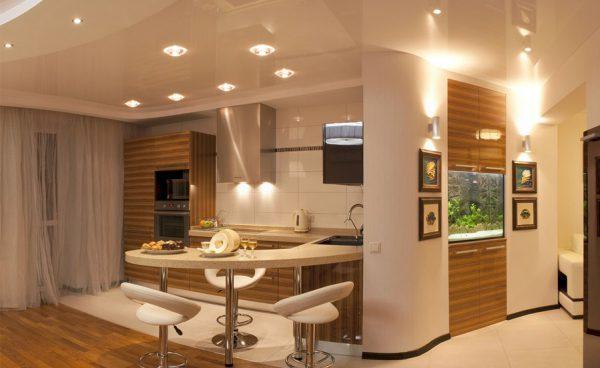 Освещение кухни с помощью галогеновых ламп