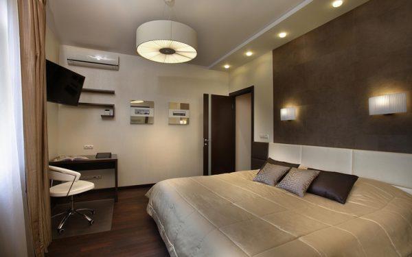 Размещение источников света в спальной комнате