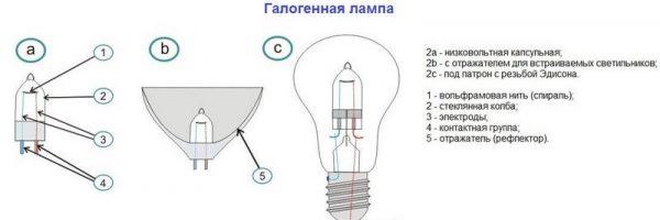 Классификация галогенных ламп по типу корпуса