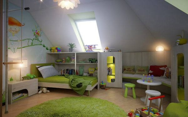 Освещение детской комнаты в мансардном помещении