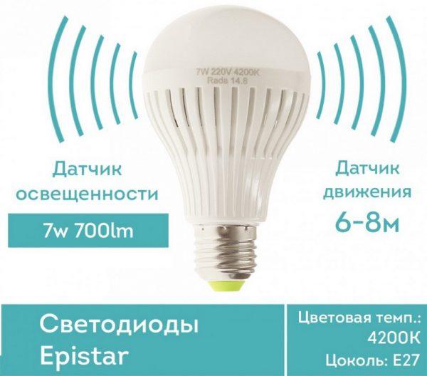 Параметры лампы с датчиком движения