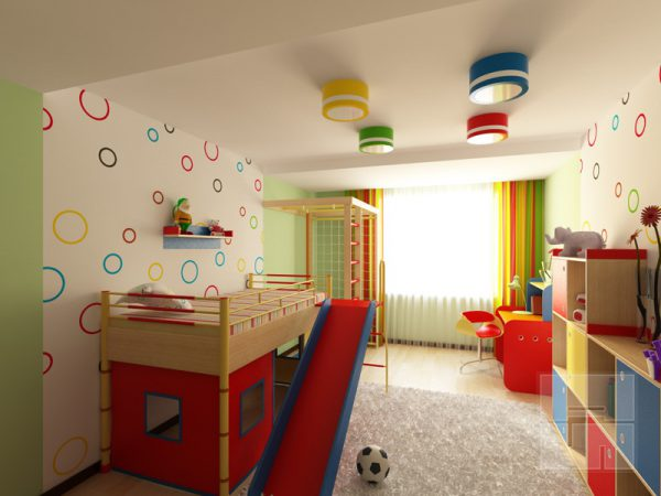 Светильники на потолке в детской