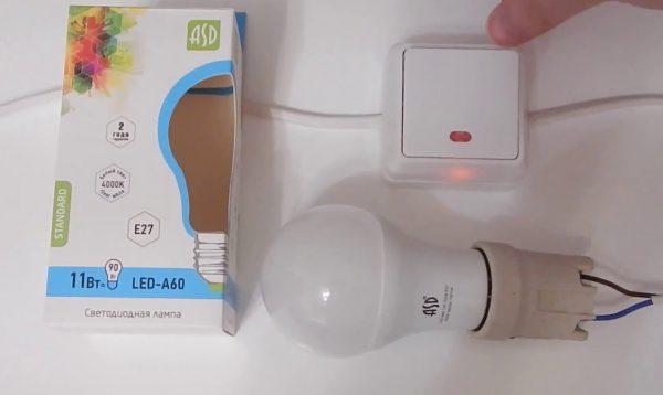 Светодиодная лампа может мерцать из-за выключателя с подсветкой