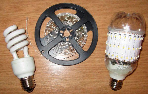 Светодиодная лампа из энергосберегающей