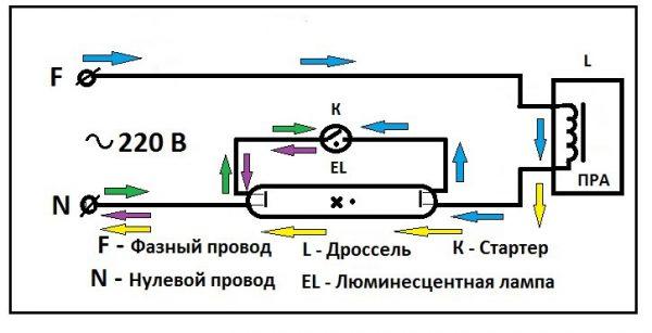 Схема подключения энергосберегающей лампы