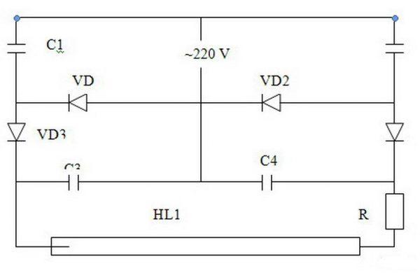 Принципиальная схема питания ламп дневного света с перегоревшими нитями накала