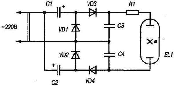 Схема запуска перегоревшей люминесцентной лампы