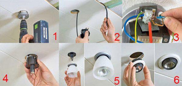 Монтаж светильников в потолок из гипсокартона