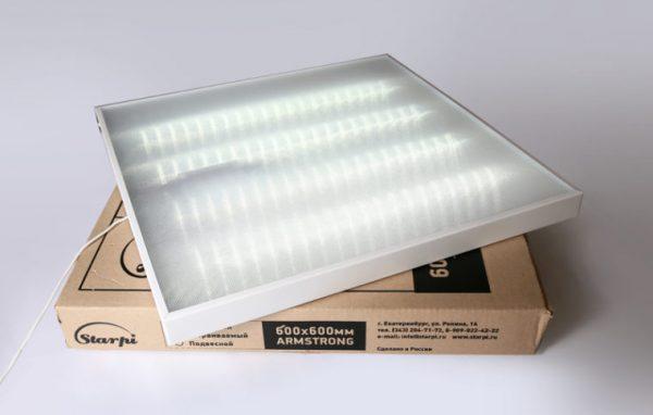 Светодиодный потолочный светильник Армстронг 600х600 с металлическим корпусом