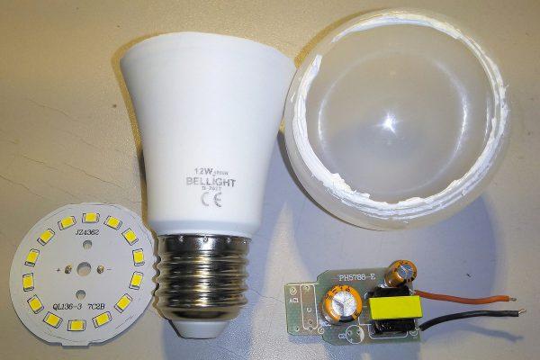 Разборка LED-лампы с герметиком