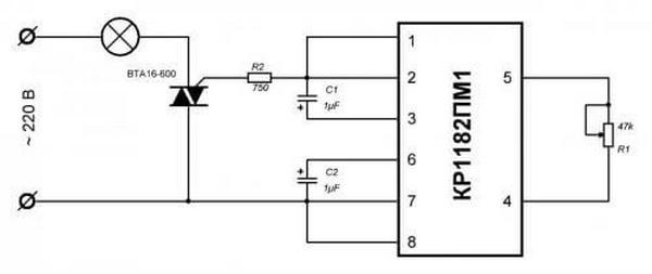 Схема регулировки ламп накаливания на микросхеме кр1182пм1
