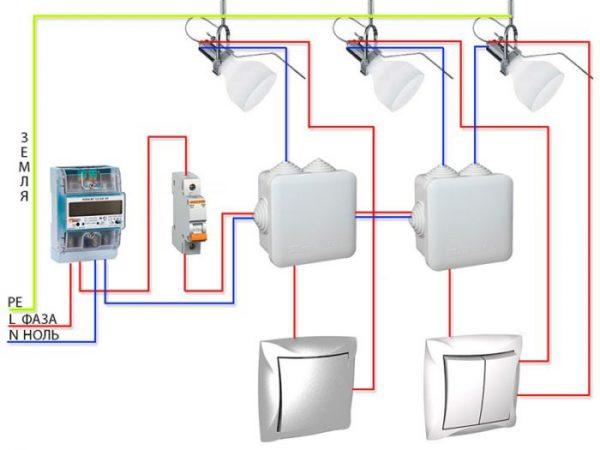Схема подключения потолочных светильников к сети 220 В