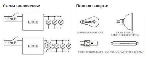 Схема подсоединения прибора защиты