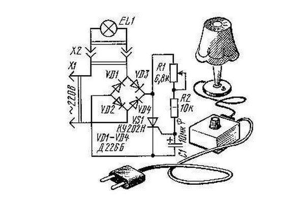 Схема плавного включения ламп на тиристоре